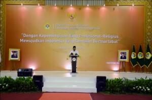 Capres Prabowo Subianto saat pemaparan Visi Misi di Rapimnas LDII 3