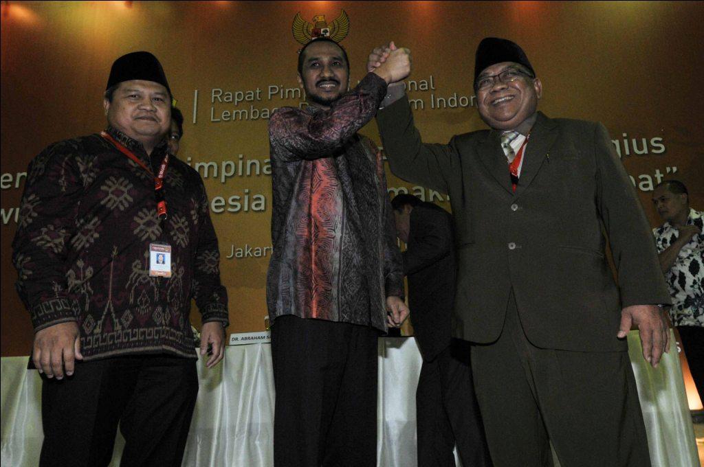 Ketua Umum DPP LDII Prof. Abdullah Syam dan Ketua KPK Abraham Samad saat deklarasi LDII Dukung Gerakan AntiKorupsi